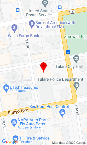 Google Map of Linder Equipment Co. 311 E. Kern Avenue, Tulare, CA, 93274
