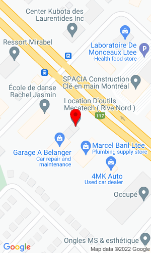 Google Map of Location d outils Mecatech 14160 Bl. Cure-Labelle , St Janvier Mirabel, QC, J7J 1L6,