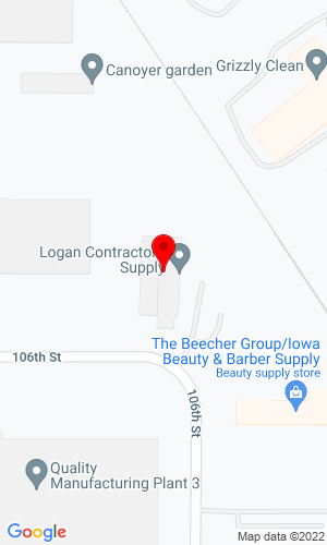 Google Map of Logan Contractors Supply, Inc. 4101 106th Street, Des Moines, IA, 50322
