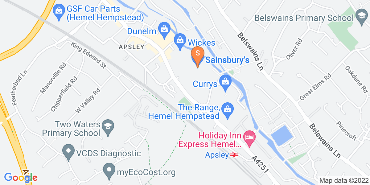 Google Map of London Road Hemel Hempstead HP3 9QZ