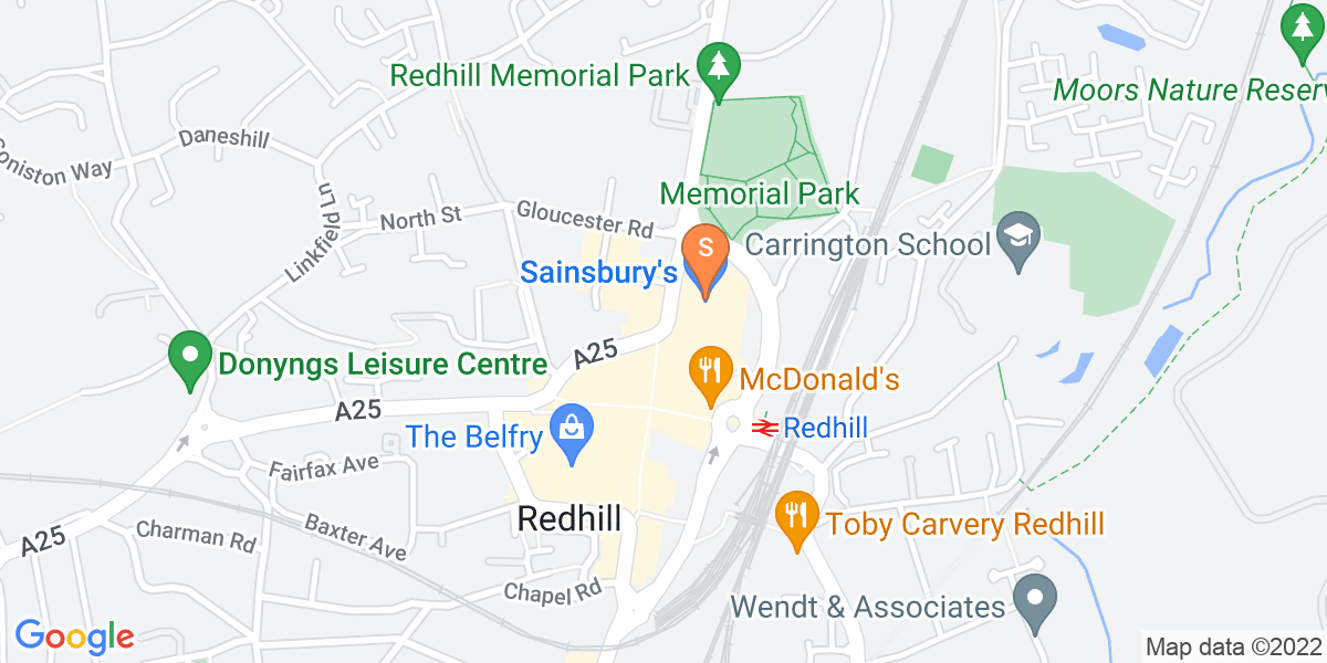 Google Map of London Road Redhill RH1 1NN