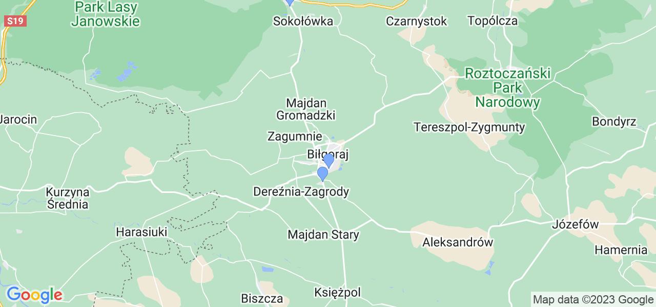 Mapka lokalizacji punktów nadania, z których mogą korzystać klienci serwisu regeneracji turbo w celu wysłania turbosprężarki – powiat biłgorajski