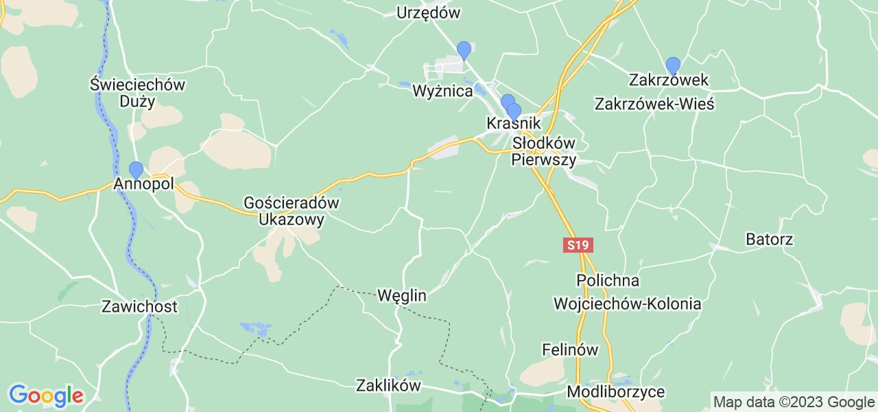 Mapka lokalizacji punktów nadania, z których mogą korzystać klienci serwisu regeneracji turbo w celu wysłania turbosprężarki – powiat kraśnicki