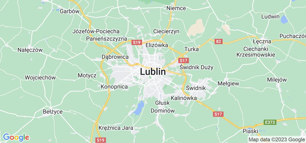 Mapka lokalizacji punktów nadania, z których mogą korzystać klienci serwisu regeneracji turbo w celu wysłania turbosprężarki – powiat opolski (lubelskie)