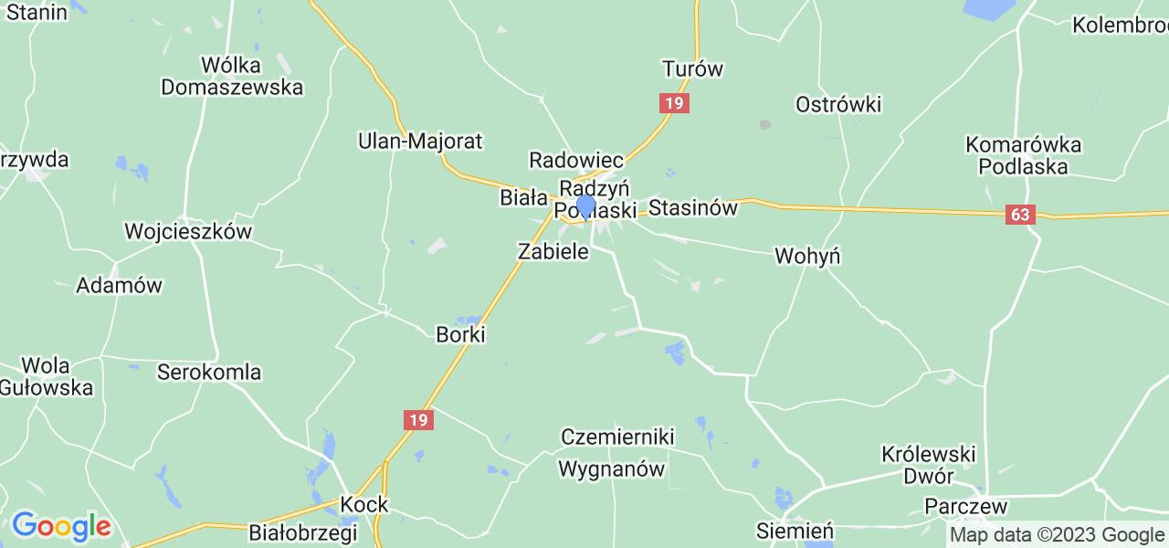 Mapka lokalizacji punktów nadania, z których mogą korzystać klienci serwisu regeneracji turbo w celu wysłania turbosprężarki – powiat radzyński