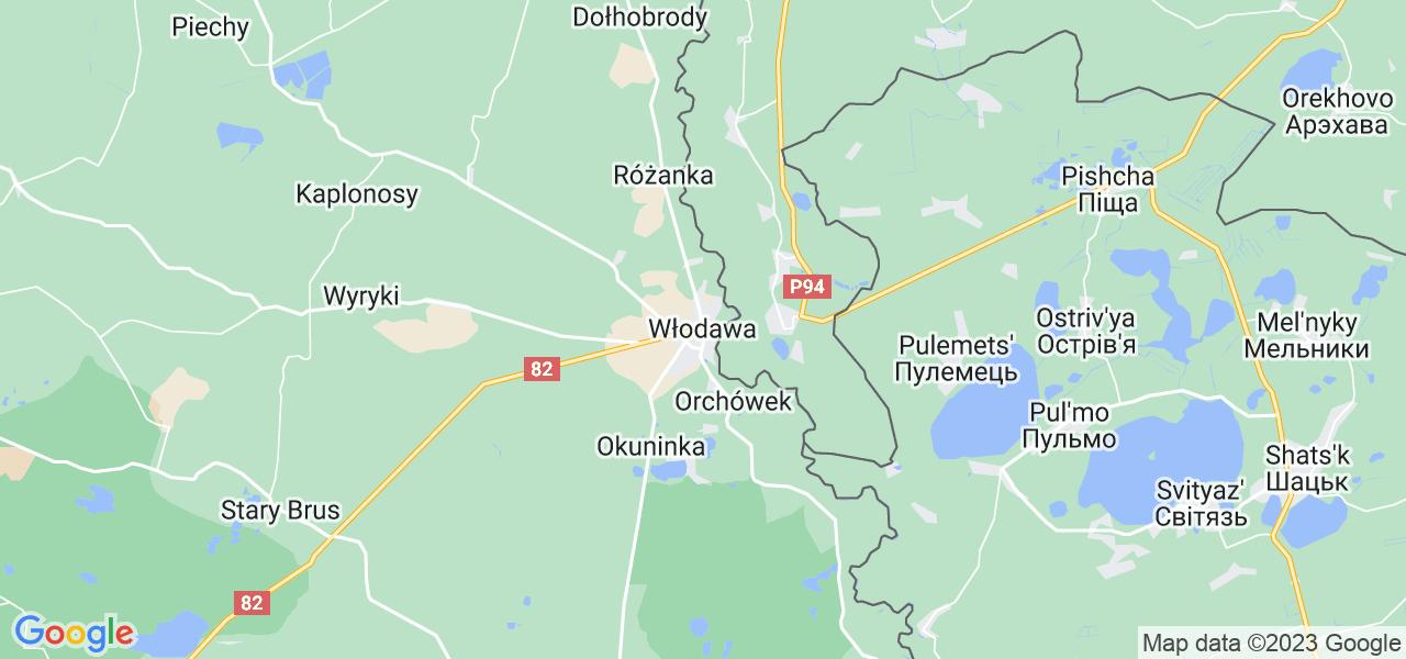 Mapka lokalizacji punktów nadania, z których mogą korzystać klienci serwisu regeneracji turbo w celu wysłania turbosprężarki – powiat włodawski