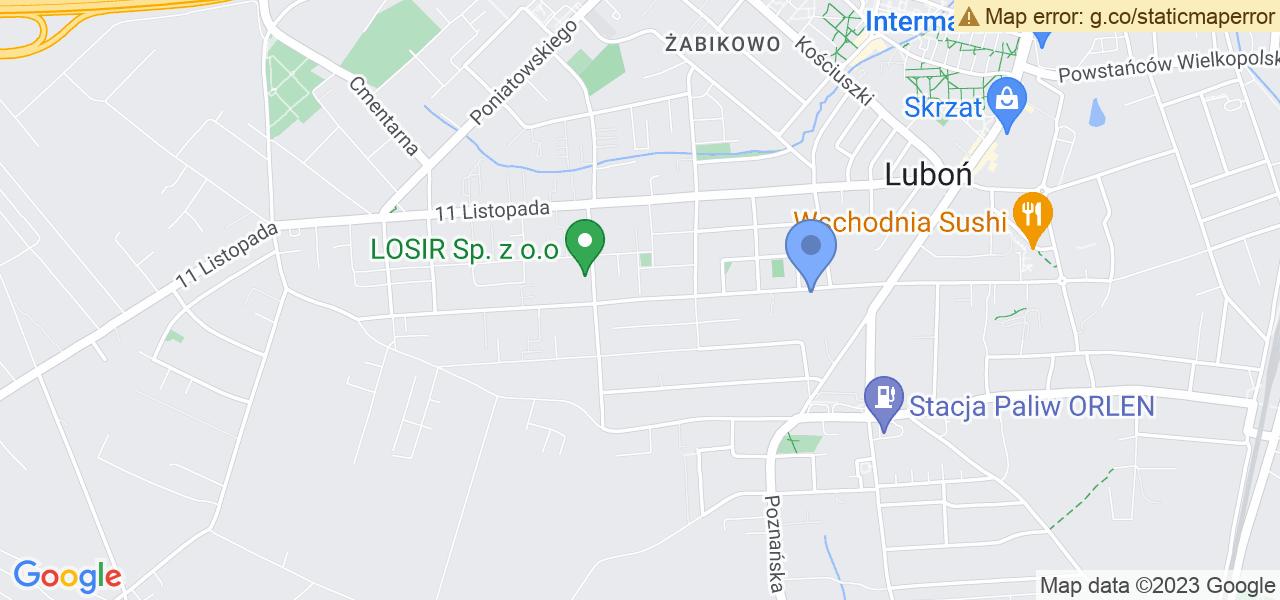 Jedna z ulic w Luboniu – Wojska Polskiego i mapa dostępnych punktów wysyłki uszkodzonej turbiny do autoryzowanego serwisu regeneracji
