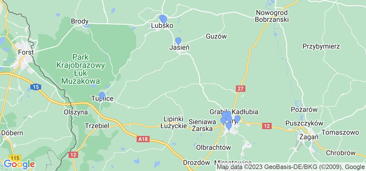 Mapka lokalizacji punktów nadania, z których mogą korzystać klienci serwisu regeneracji turbo w celu wysłania turbosprężarki – powiat żarski