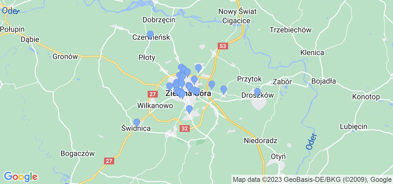 Mapka lokalizacji punktów nadania, z których mogą korzystać klienci serwisu regeneracji turbo w celu wysłania turbosprężarki – powiat zielonogórski