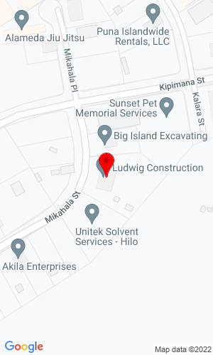 Google Map of Ludwig Construction 16-221 Mikalaha St, Keaau, HI, 96749