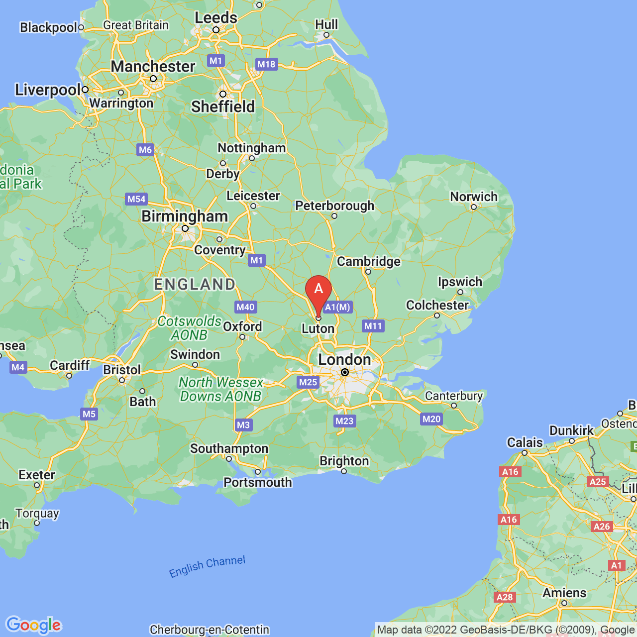 Luton, England Map