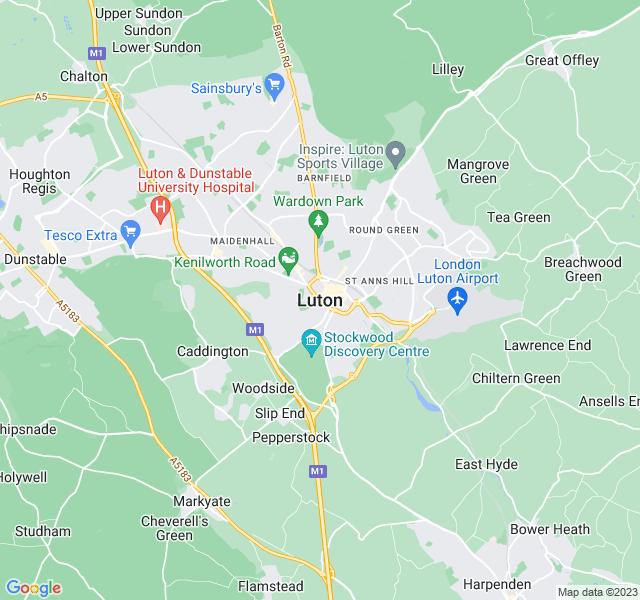 Website Designer Luton Google map of location
