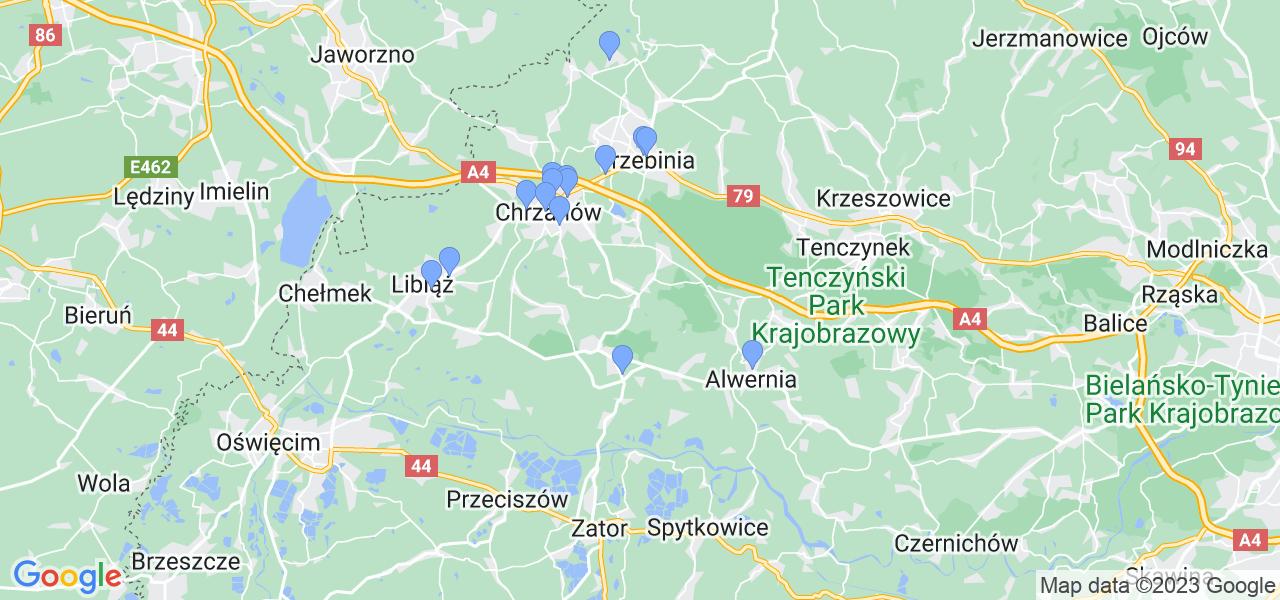 Mapka lokalizacji punktów nadania, z których mogą korzystać klienci serwisu regeneracji turbo w celu wysłania turbosprężarki – powiat chrzanowski