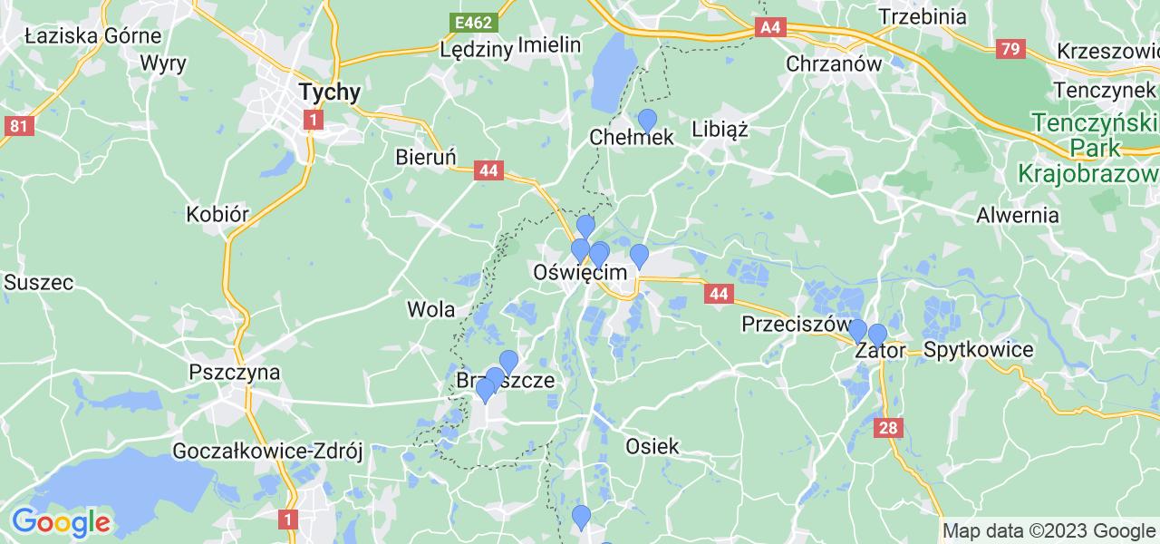 Mapka lokalizacji punktów nadania, z których mogą korzystać klienci serwisu regeneracji turbo w celu wysłania turbosprężarki – powiat oświęcimski