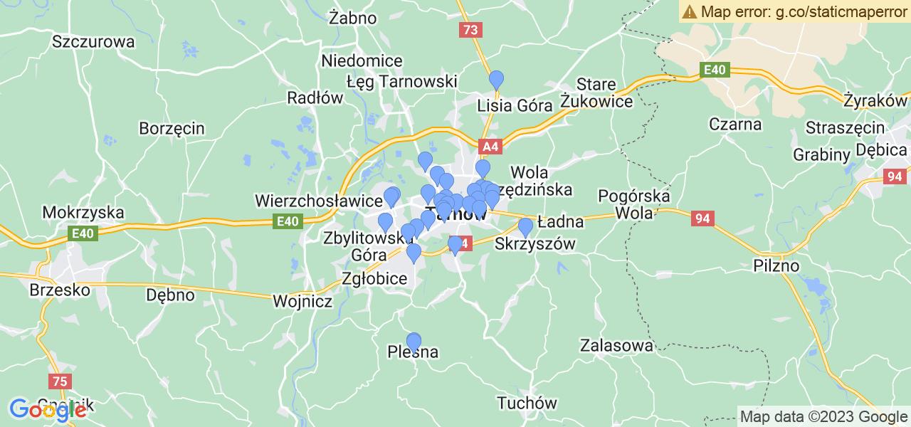 Mapka lokalizacji punktów nadania, z których mogą korzystać klienci serwisu regeneracji turbo w celu wysłania turbosprężarki – powiat tarnowski