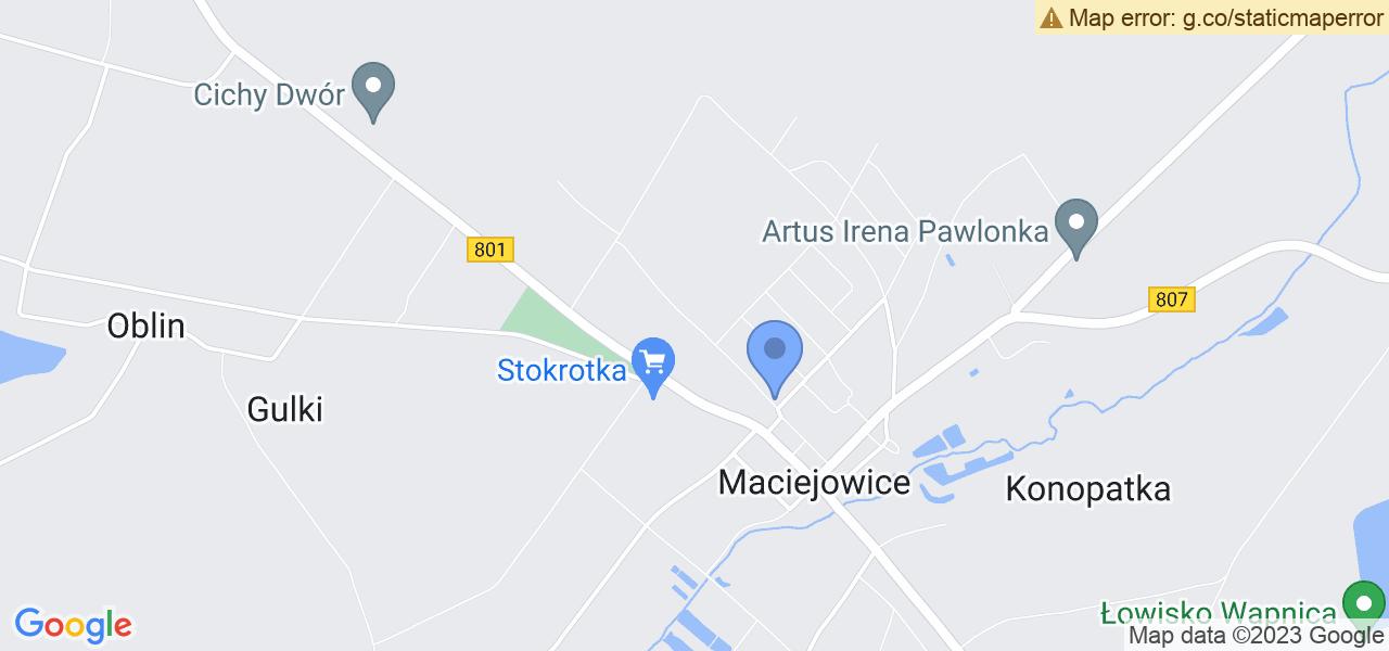 Jedna z ulic w Maciejowicach – Bankowa i mapa dostępnych punktów wysyłki uszkodzonej turbiny do autoryzowanego serwisu regeneracji