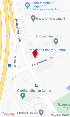 Google Map of Madison Supply Company,  LLC 85 East Washington Avenue, Bridgeport, CT, 06604