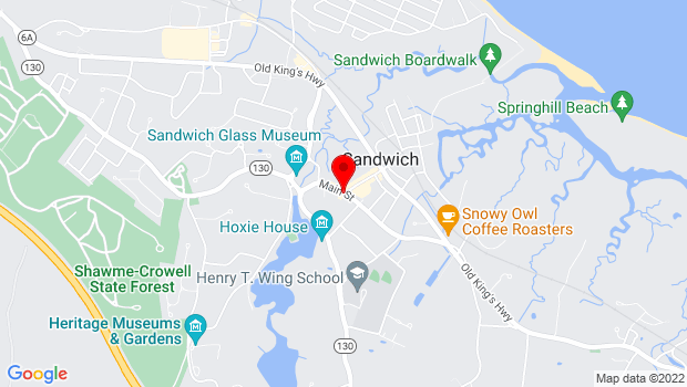Google Map of Main Street, Jarves Street, School Street and Route 6A, Sandwich, MA 02563