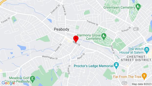 Google Map of Main Street, Peabody, MA 01960