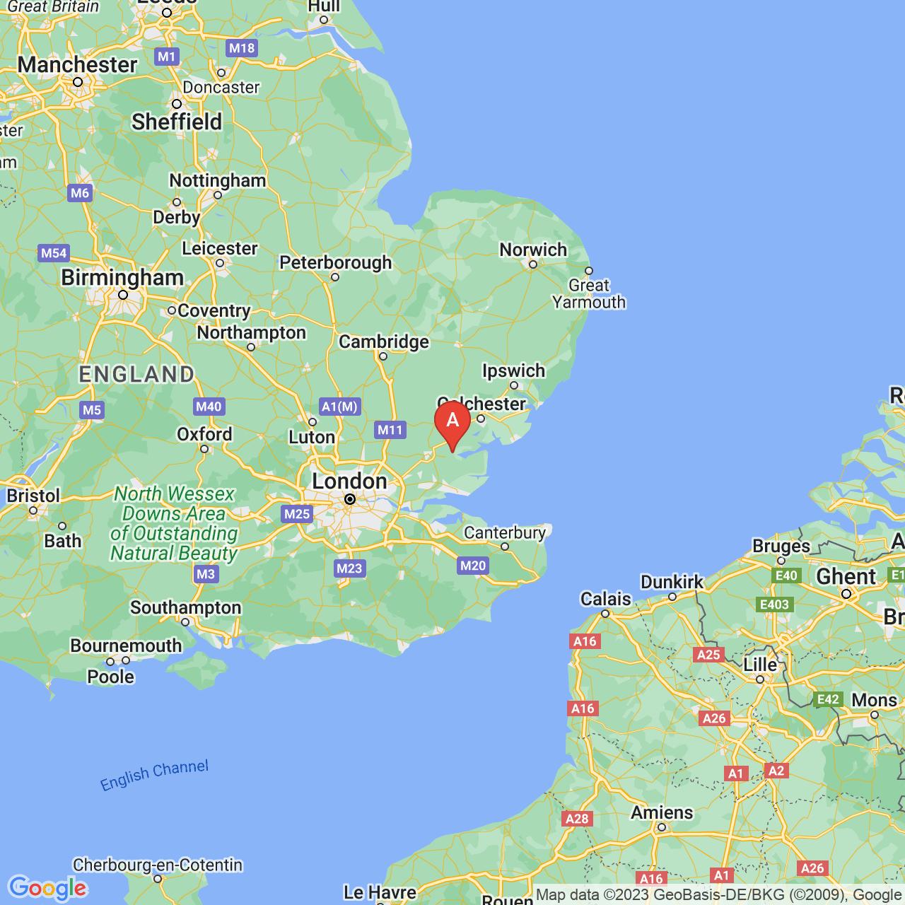 Maldon, England Map