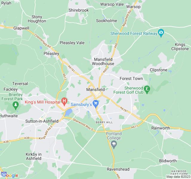 Website Designer Mansfield Google map of location