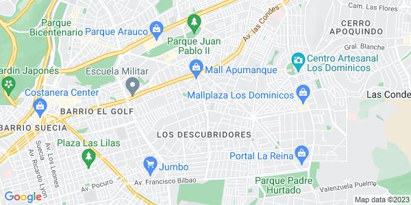 Google Map of Martin+de+Zamora+6101+office+1+Las+Condes%2C+Santiago+de+Chile