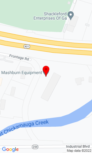 Google Map of Mashburn Equipment Rental & Sales 425 Frontage Road, Ringgold, GA, 30736