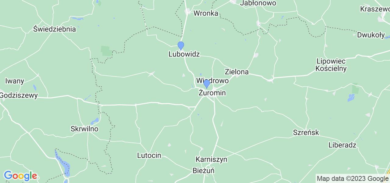Mapka lokalizacji punktów nadania, z których mogą korzystać klienci serwisu regeneracji turbo w celu wysłania turbosprężarki – powiat żuromiński