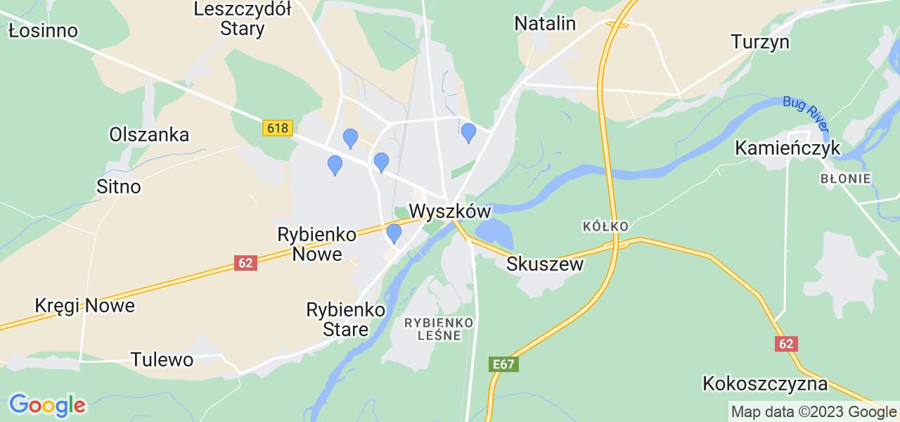 Dostępne w Wyszkowie lokalizacje punktów nadania, z których możesz skorzystać, chcąc wysłać turbinę do regeneracji w największym serwisie w Polsce