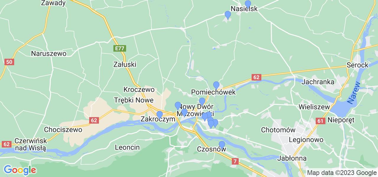 Mapka lokalizacji punktów nadania, z których mogą korzystać klienci serwisu regeneracji turbo w celu wysłania turbosprężarki – powiat nowodworski