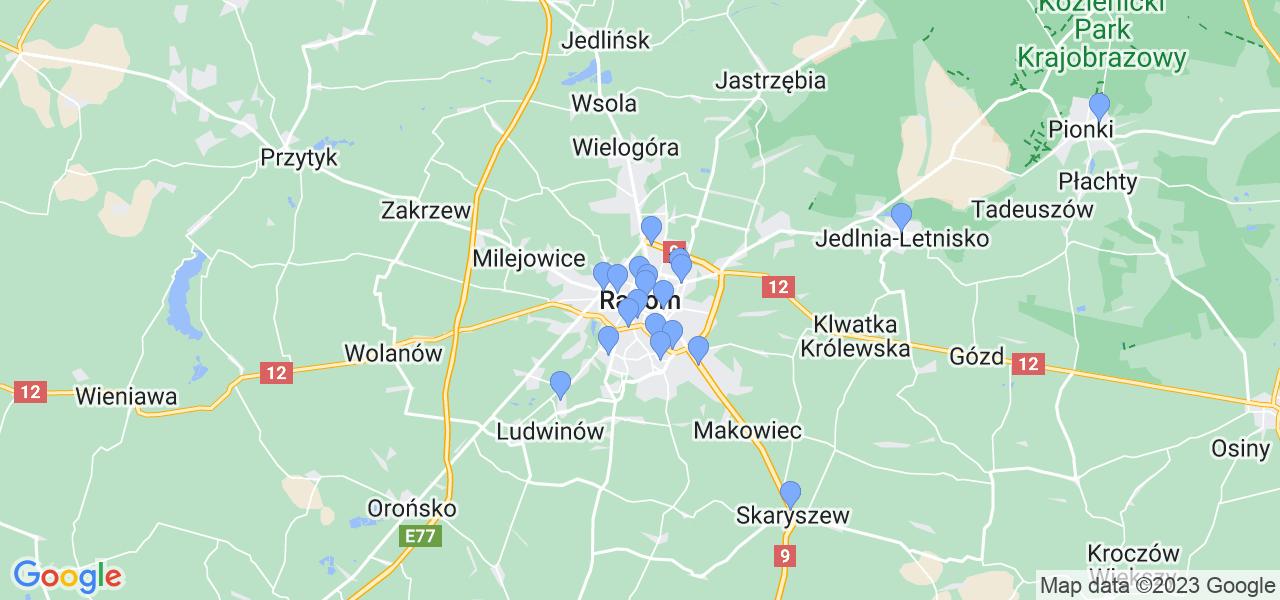 Mapka lokalizacji punktów nadania, z których mogą korzystać klienci serwisu regeneracji turbo w celu wysłania turbosprężarki – powiat radomski