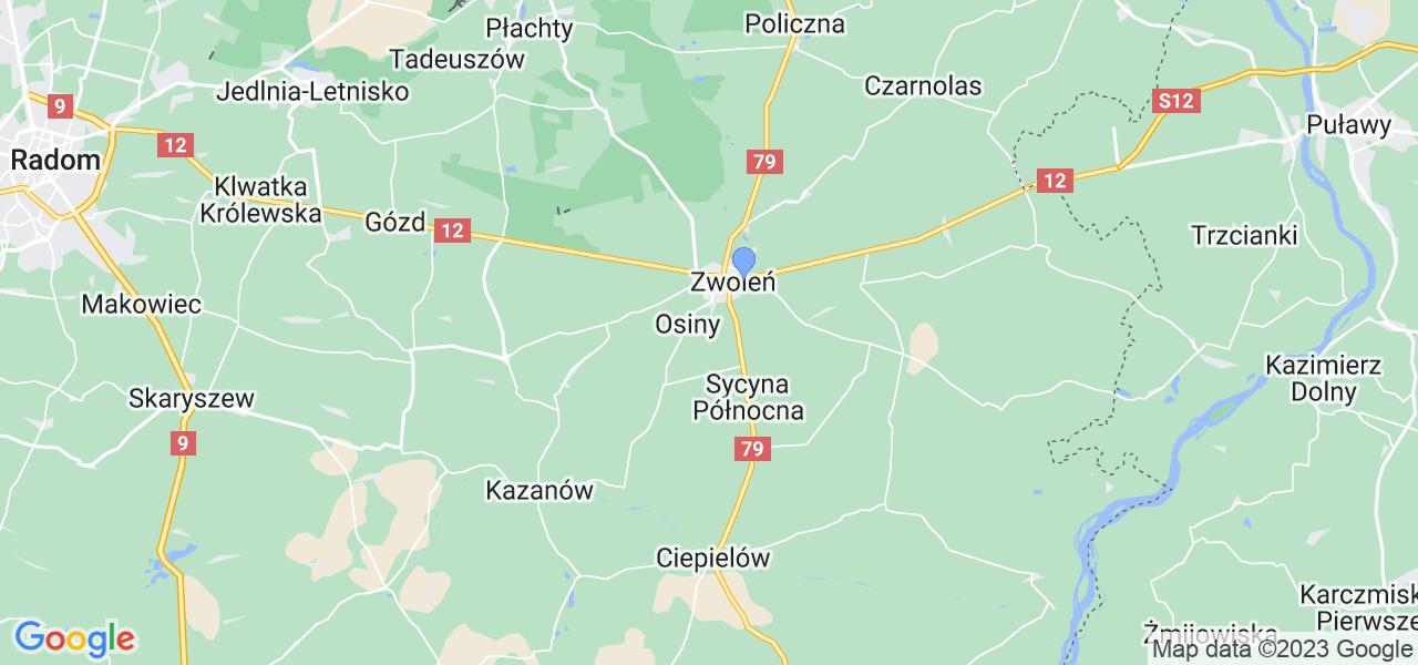 Mapka lokalizacji punktów nadania, z których mogą korzystać klienci serwisu regeneracji turbo w celu wysłania turbosprężarki – powiat zwoleński
