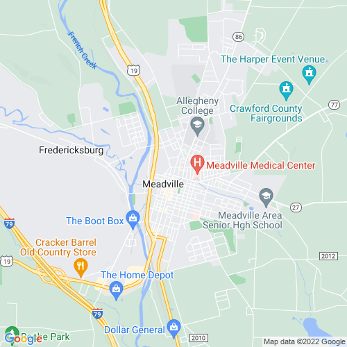 Map of Meadville, PA