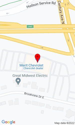 Google Map of Merit Chevrolet 2695 Brookview Dr, Maplewood, MN, 55119,