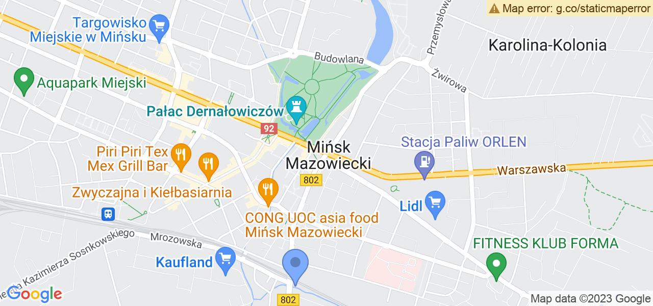 Jedna z ulic w Mińsku Mazowieckim – Siennicka i mapa dostępnych punktów wysyłki uszkodzonej turbiny do autoryzowanego serwisu regeneracji