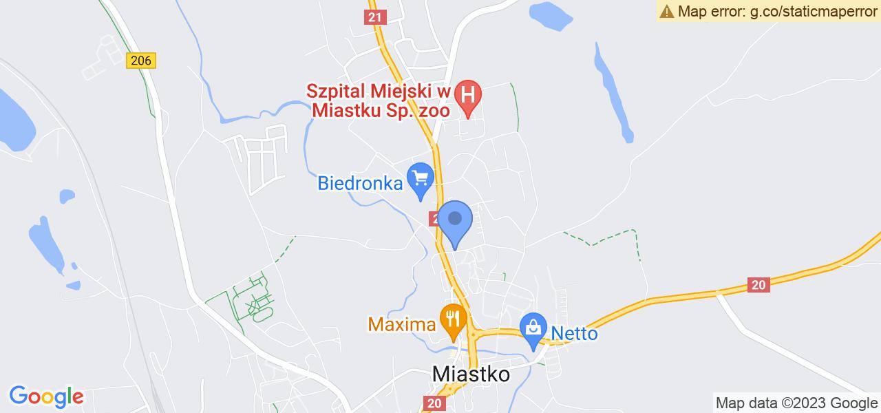 Jedna z ulic w Miastku – Wybickiego i mapa dostępnych punktów wysyłki uszkodzonej turbiny do autoryzowanego serwisu regeneracji