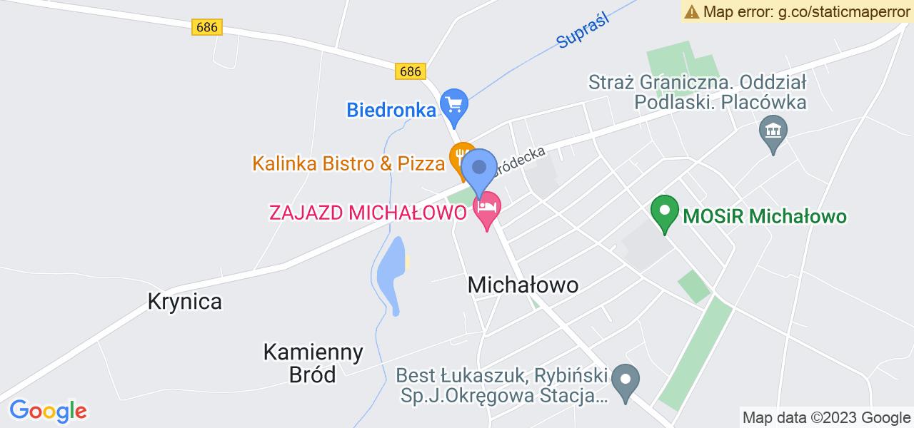 Jedna z ulic w Michałowie – Plac 11 Listopada i mapa dostępnych punktów wysyłki uszkodzonej turbiny do autoryzowanego serwisu regeneracji
