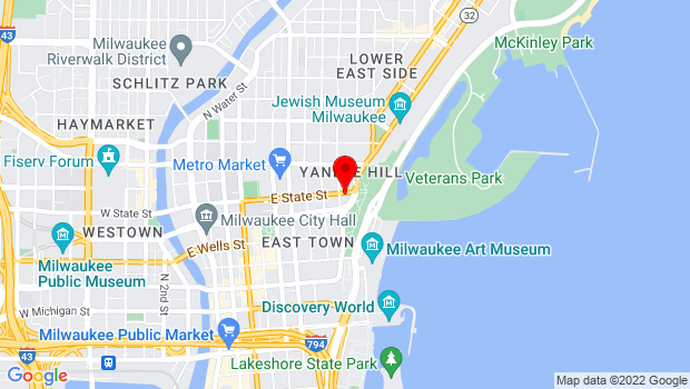 Google Map of Milwaukee, WI 53202