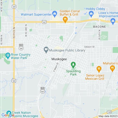 Map of Muskogee, OK