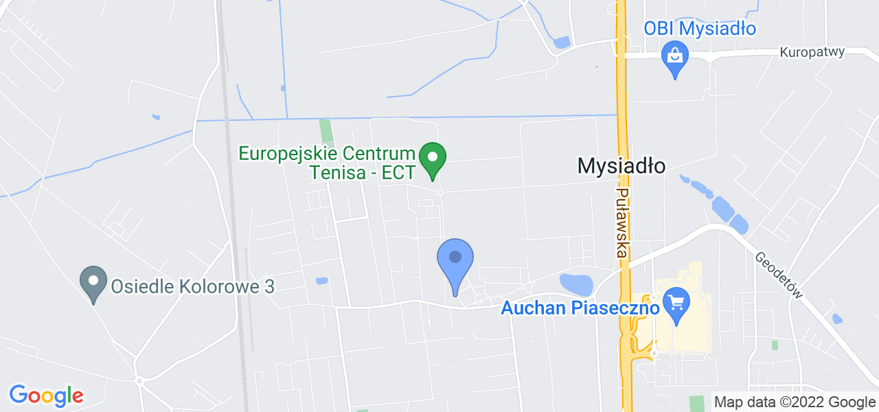 Jedna z ulic w Mysiadle – Topolowa i mapa dostępnych punktów wysyłki uszkodzonej turbiny do autoryzowanego serwisu regeneracji