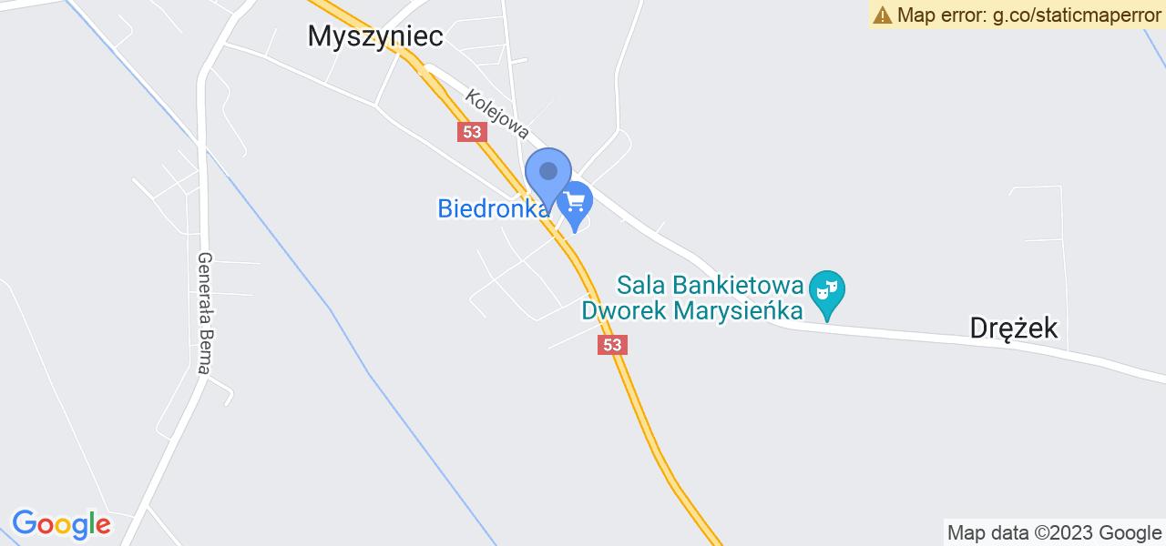 Jedna z ulic w Myszyńcu – Kazimierza Stefanowicza i mapa dostępnych punktów wysyłki uszkodzonej turbiny do autoryzowanego serwisu regeneracji