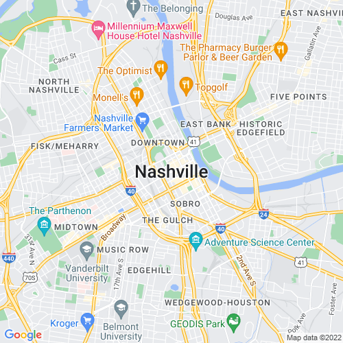 Map of Nashville, TN