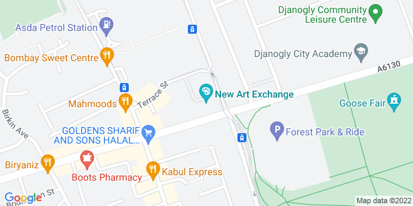 Static map of New Arts Exchange 39-41 Gregory Boulevard Nottingham NG7 6BE, provided by Google