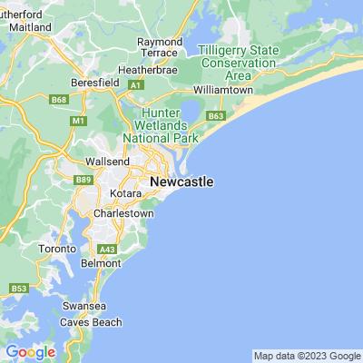 Newcastle, NSW Australia Google Map