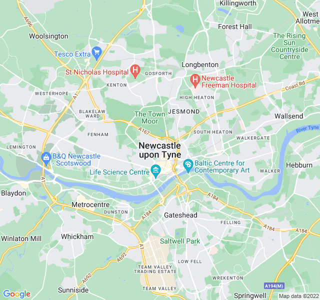 Website Designer Newcastle Google map of location