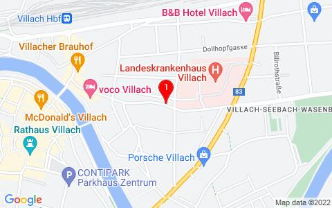 Google Map of Nikolaigasse 39 / 2. Stock,  9500  Villach