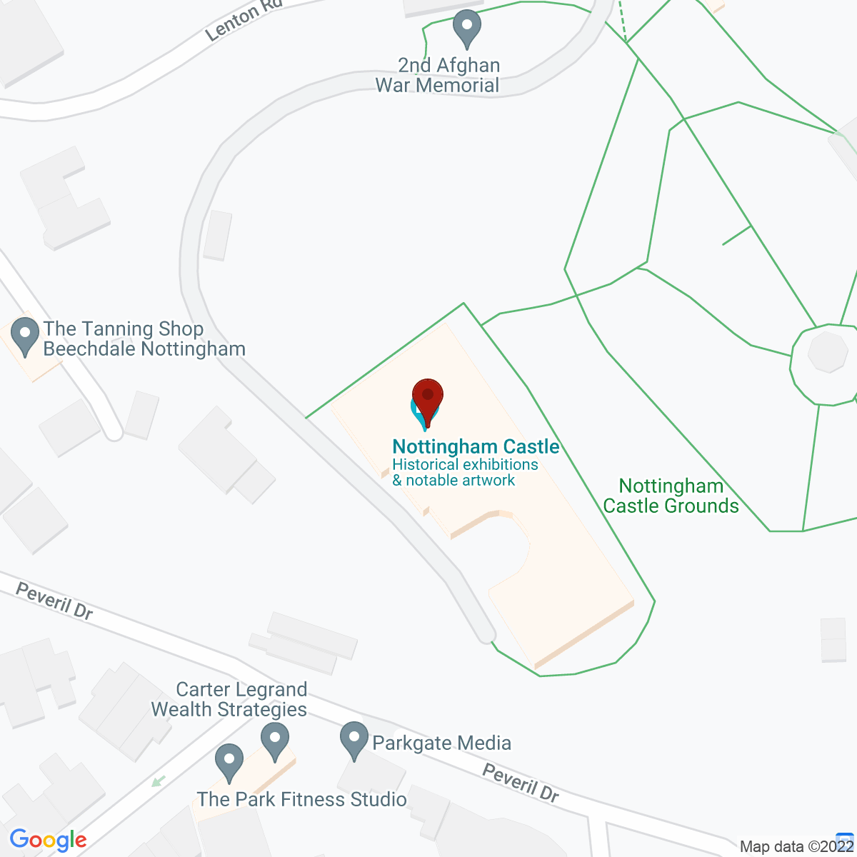 Google Map of Nottingham Castle, Lenton Road, Nottingham, NG1 6EL