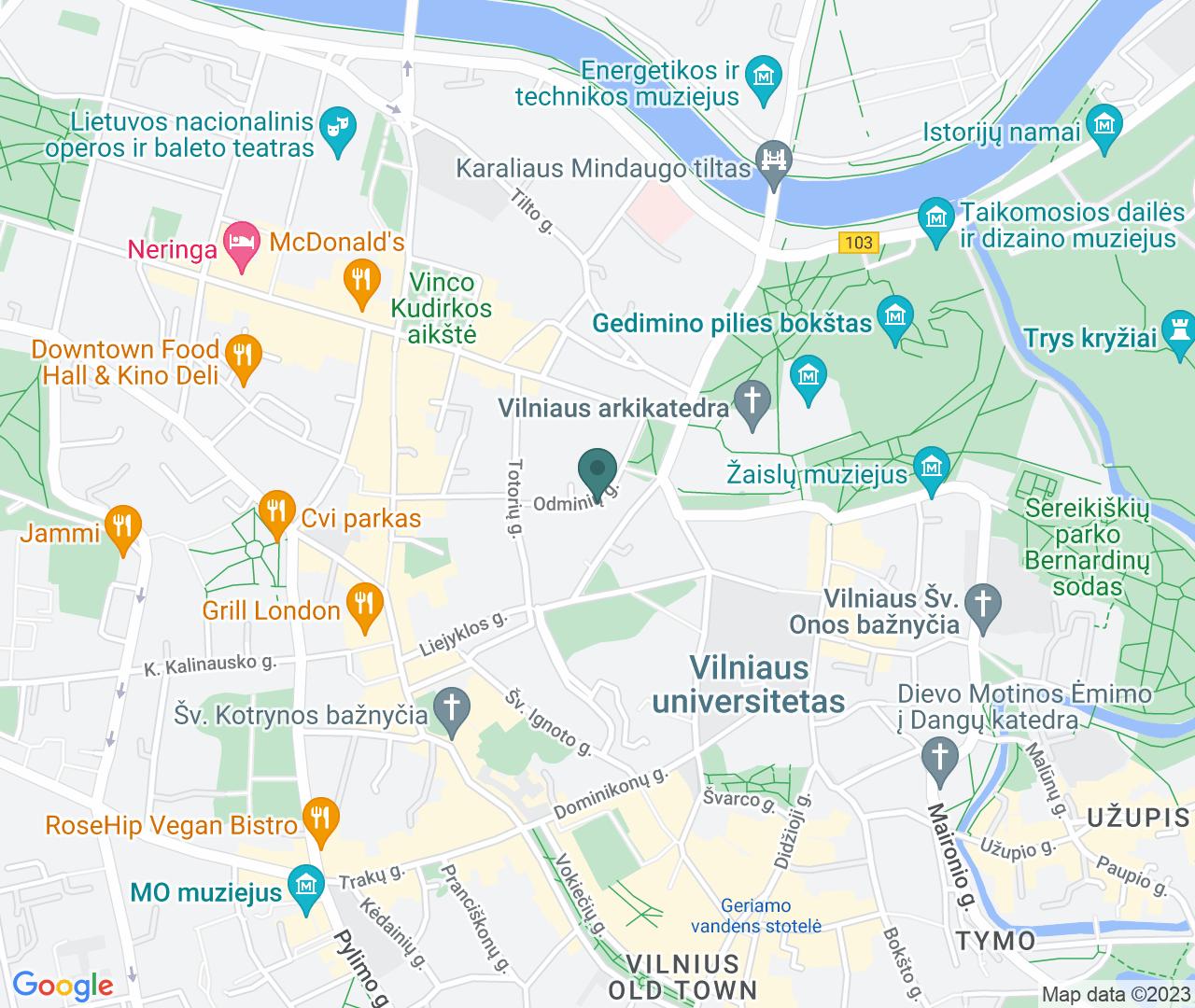 Google Map of Odminiu Str. 8, Vilnius, LT-01122, Lithuania