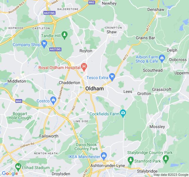 Website Designer Oldham Google map of location