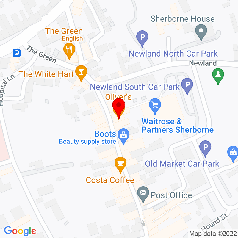 Google Map of Oliver's Coffee Shop, Sherborne